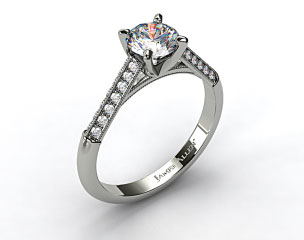14K White Gold Pave Knife Edge Cathedral Diamond Engagement Ring